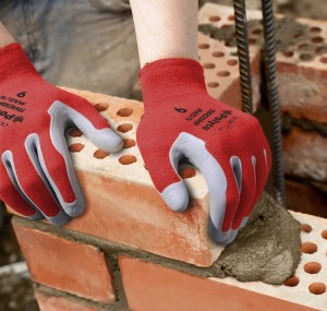 Polyco's Mad Grip glove in action in Construction. Bricks laying.