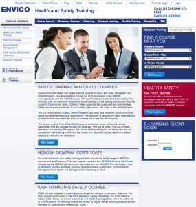 Envico-health-and-safety-training-website-homepage-screenshot