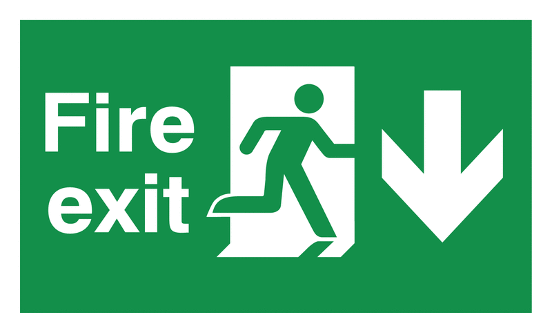 Fire safety sign showing the words fire exit and a person running